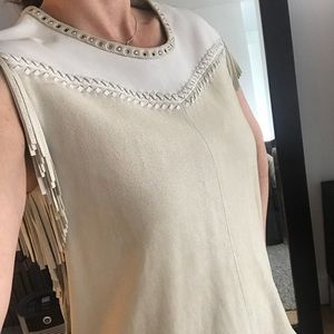 Statement suede and leather fringe IRO top